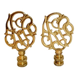 Brass Lamp Finials, Pair For Sale