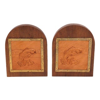 Vintage Tooled Leather Fish Bookends For Sale