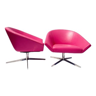 Hot Pink Remy Lounge Chairs by Jeffrey Bernett for Bernhardt Design - a Pair For Sale