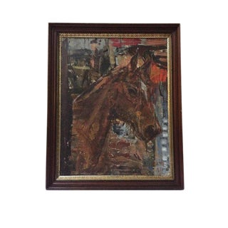 Vintage Abstract Horse Oil Painting on Canvas, Framed For Sale