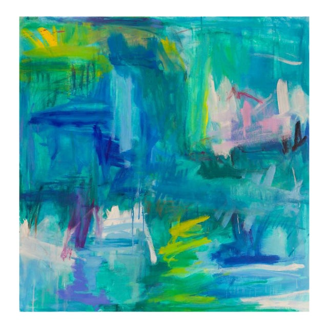"""Large Abstract Painting by Trixie Pitts """"Reflections"""" For Sale"""