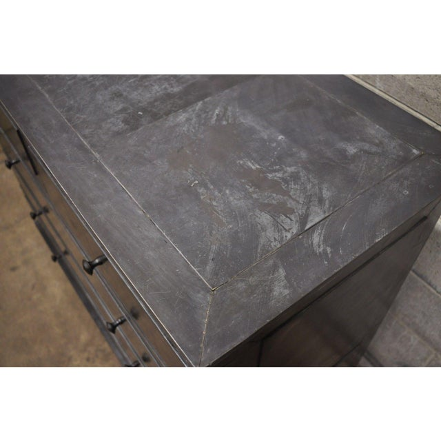 Silver Restoration Hardware Annecy Metal Wrapped Zinc A 5 Drawer Chest Dresser For Sale - Image 8 of 11