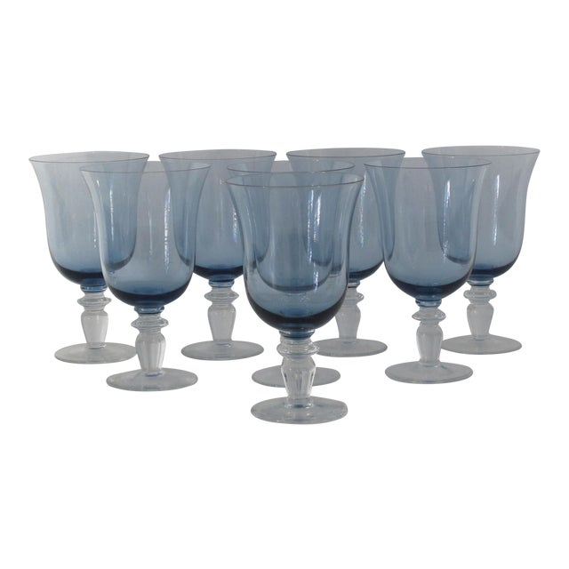 Blue Glass Goblets - Set of 8 - Image 1 of 5
