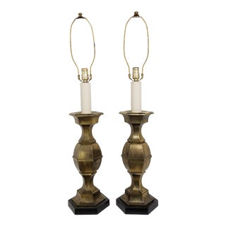 1960s Stiffel Hexagonal Chinoserie Table Lamps - a Pair For Sale