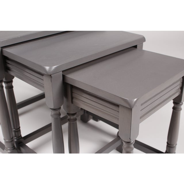 Jacobean-Style Gray Nesting Tables - Set of 3 - Image 6 of 6
