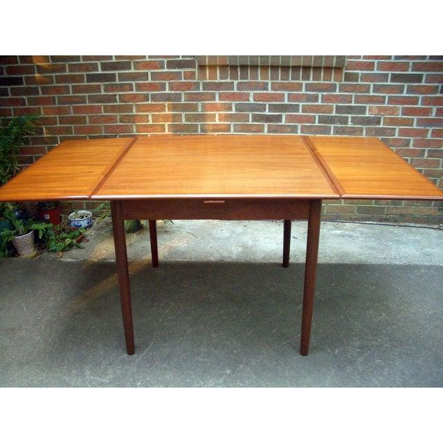 Danish Modern Teak Draw Leaf Dining Table - Image 3 of 7