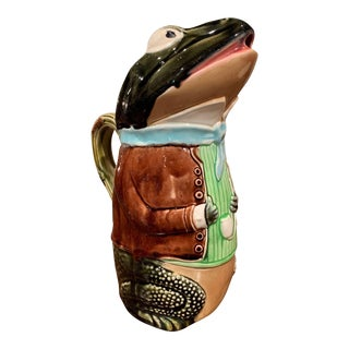 French Hand Painted Ceramic Barbotine Frog Pitcher by Fives Lille For Sale