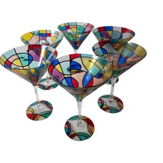 Colorful Memphis Style Mosaic Large Martini Glasses - Set of 6 For Sale