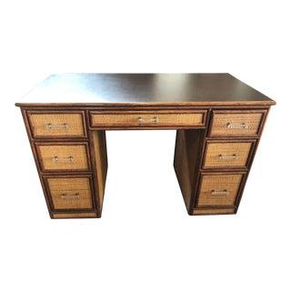 1990s Boho Chic Rattan Partner Desk For Sale