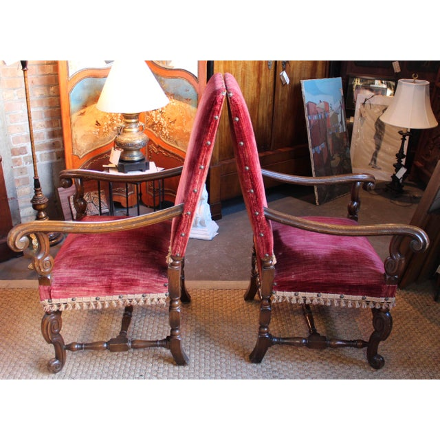 Louis XIV Style Carved Oak Arm Chairs - A Pair - Image 3 of 9