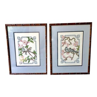 Vintage Asian Needlepoint Birds in Bamboo Frames - a Pair