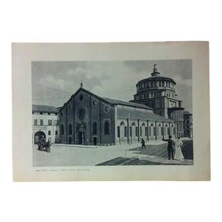 """Circa 1930 """"Chieda S. Maria Delle Grazie"""" Print of Milano Italy For Sale"""