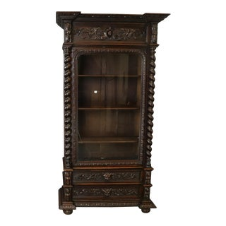 Bookcase Hunting Style Antique French Renaissance For Sale