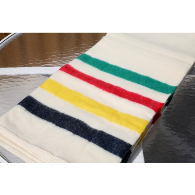 1970s Vintage New Old Stock Early's of Witney Four Point Color Stripe Wool Blankets - a Pair For Sale - Image 5 of 10