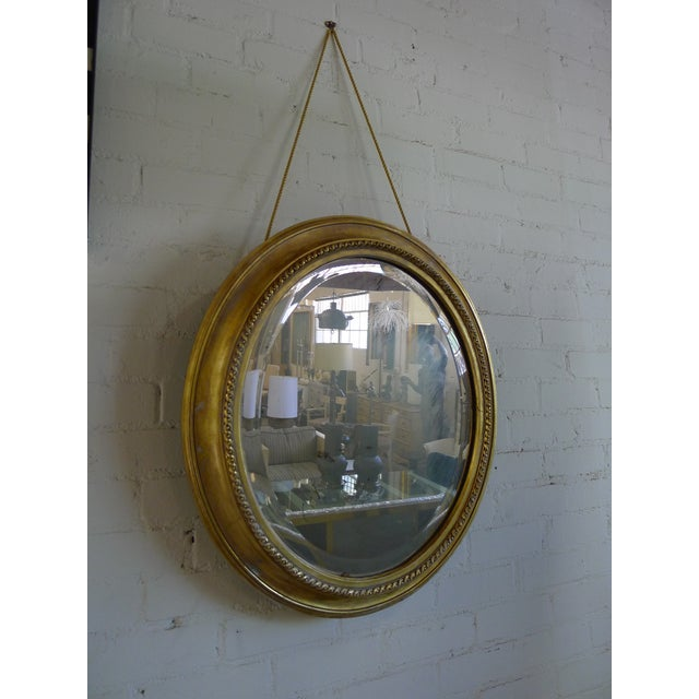 Distressed Gilt Oval Antiqued Mirror Hung by Rope For Sale - Image 4 of 13