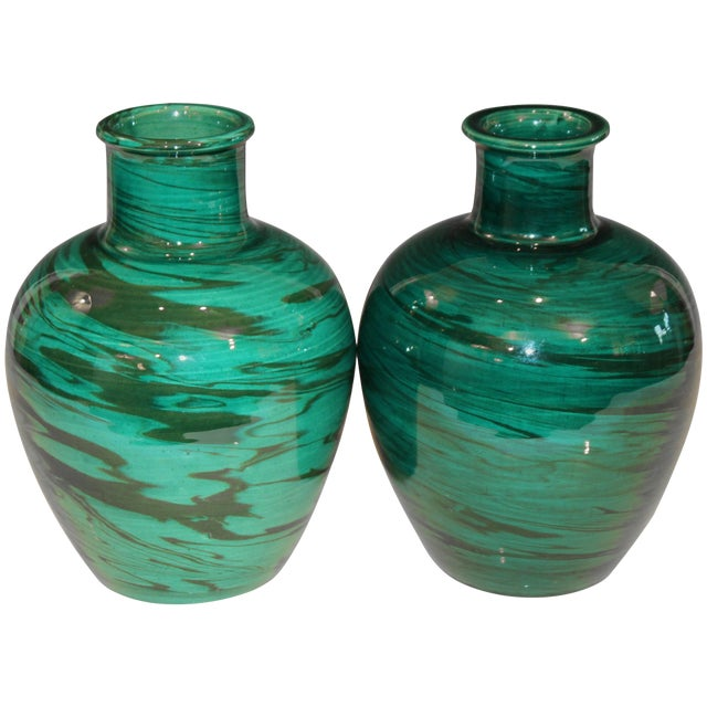 Bitossi MCM Raymor Vintage Italian Pottery Marbled Green Marbleized Vases, Pair For Sale