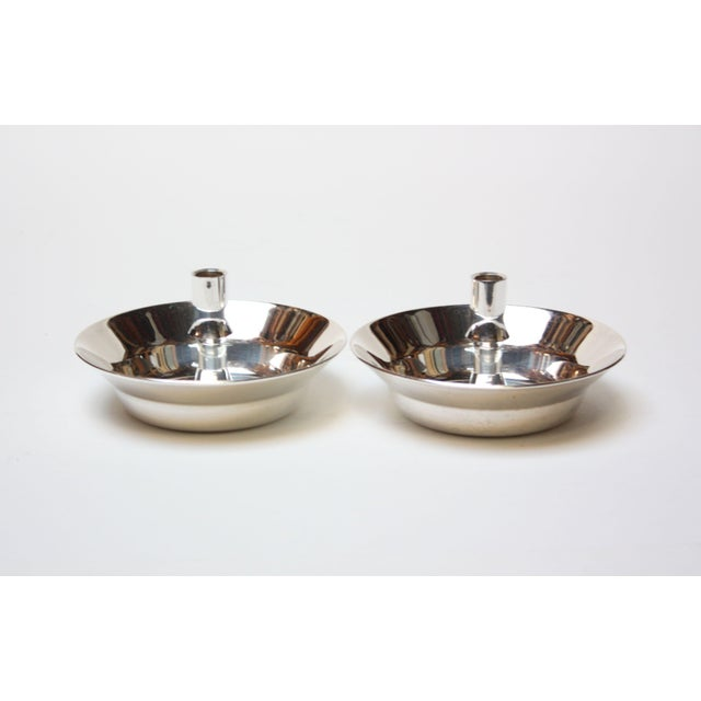 Metal Jens Quistgaard for Dansk Silver-Plated Candle Holders - A Pair For Sale - Image 7 of 7