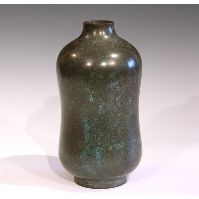 Vintage Bronze Old Japanese Patinated Verdigris Vase For Sale - Image 11 of 11