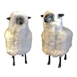 Pair of Wool / Resin Sheep in the Style of Francois Xavier Laianne For Sale