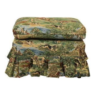 Equestrian Horse Hunt Upholstered Ottoman For Sale