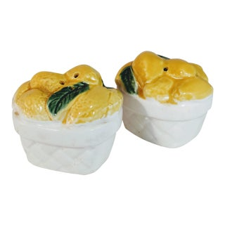 Vintage Lemon Salt Pepper Shaker Baskets Japan Majolica - a Pair For Sale