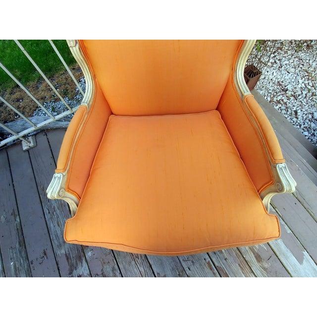 Wood Henredon White Frame Orange Upholstery Louis XV Down Fill Bergere Chair For Sale - Image 7 of 13