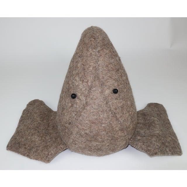 Whimsical Large Wall Mount Felt Elephant Head For Sale - Image 9 of 12
