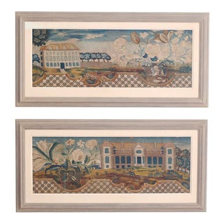 18th Century Framed Handmade Tapestries - a Pair For Sale