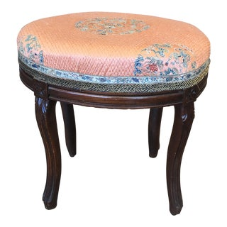 Antique Chinoiserie Silk Vanity Stool For Sale