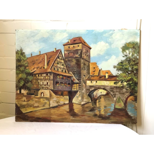 Orange Impressionist Oil Painting of a Continental Townscape For Sale - Image 8 of 12