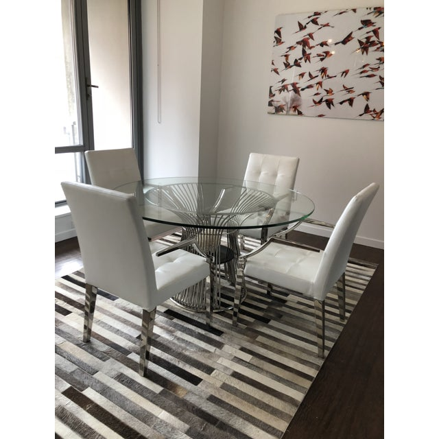 Art Deco White Leather Dining Chairs and Glass Table - 5 Piece Set For Sale In New York - Image 6 of 6