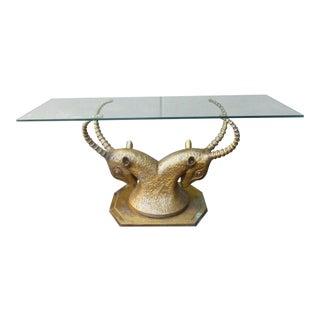 70's Bronze & Zinc Antelope Head Console Table Base
