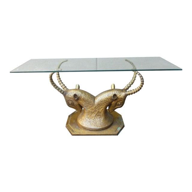 70's Bronze & Zinc Antelope Head Console Table Base For Sale