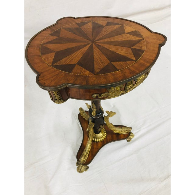 Brown Early 20th Century Empire Style Side Table With Mounted Ormolu For Sale - Image 8 of 10