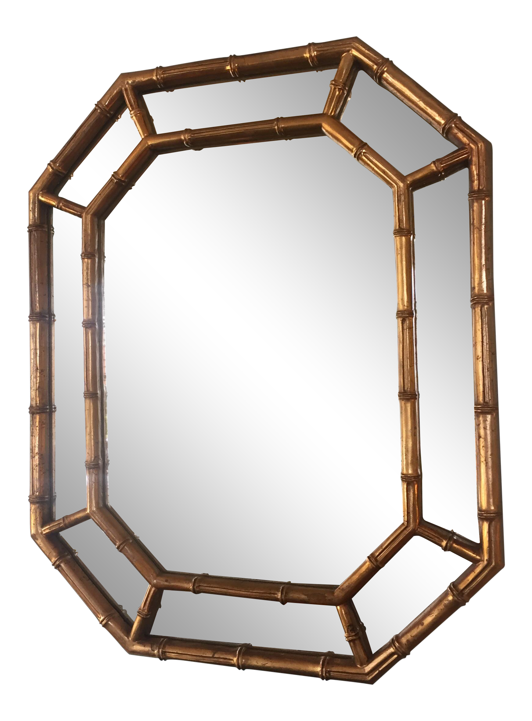 gold bamboo mirror. Gold Faux Bamboo Mirror - Image 1 Of 6 N