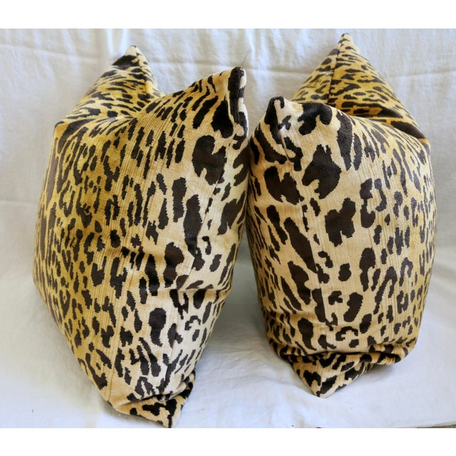 Contemporary Vintage Leopard European Velvet Double Sided Pillows- a Pair For Sale - Image 3 of 4