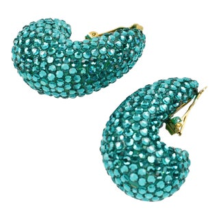 1980s Richard Kerr Nautilus Shaped Turquoise Crystal Paved Clip on Earrings For Sale