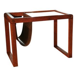 Mid-Century Modern Teak Side Table With Magazine Rack