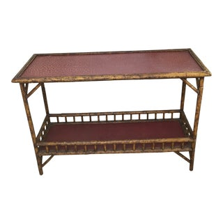 British Colonial Faux Bamboo Console Accent Table For Sale