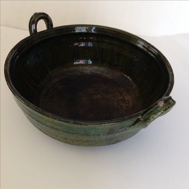 Vintage Rustic Green Studio Pottery Bowl - Image 9 of 9