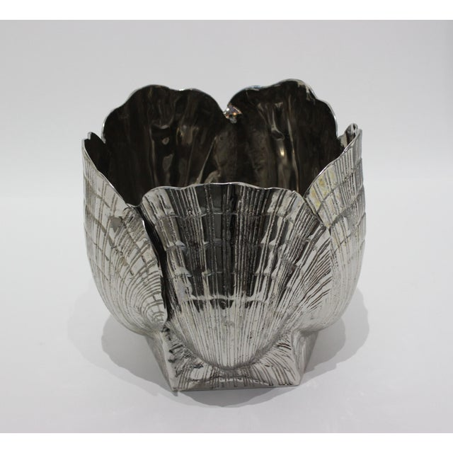 """Nickel Plated Bronze Clamshell 9"""" Cachepot or Ice Bucket For Sale - Image 10 of 10"""