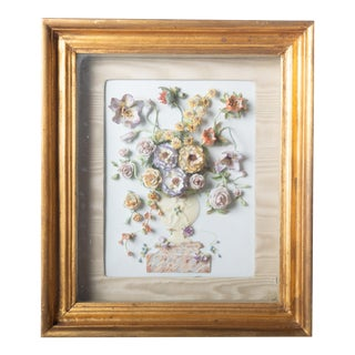 1940s Porcelain Flower Shadow Box For Sale
