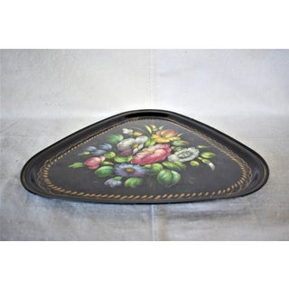 Vintage Black and Floral Russian Painted Rounded Triangle Tray Preview