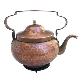 Circa 1900 Planished Red Copper Samovar Teapot - New York City For Sale