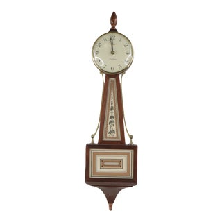 Vintage 1970s Mid Century Modern Mid-Century Modern Floral Wood Electric Wall Clock Timepiece For Sale