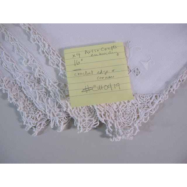 Arts & Crafts Arts and Crafts Embroidered Linen Napkins - Set of 4 For Sale - Image 3 of 4