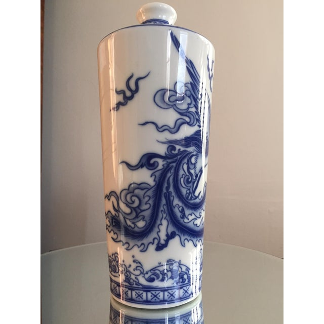 Blue and White Dragon Vases - Pair - Image 8 of 10