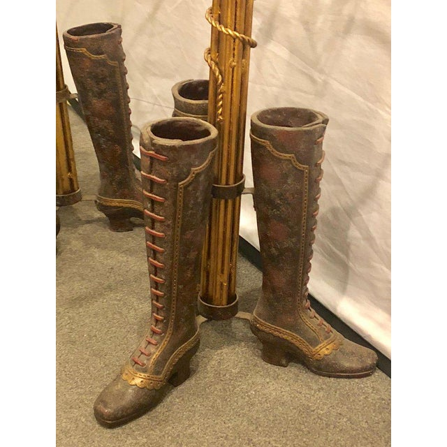 Neoclassical A Pair of Umbrella Stands Each Depicting Painted Boots on Bronze From Base For Sale - Image 3 of 12