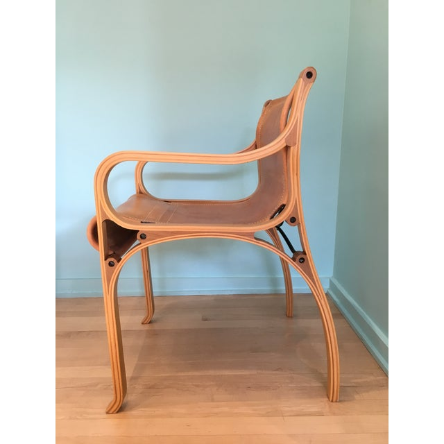 Mid-Century Modern Saddle Leather 'Chair B' by Cristian Valdes For Sale - Image 3 of 7