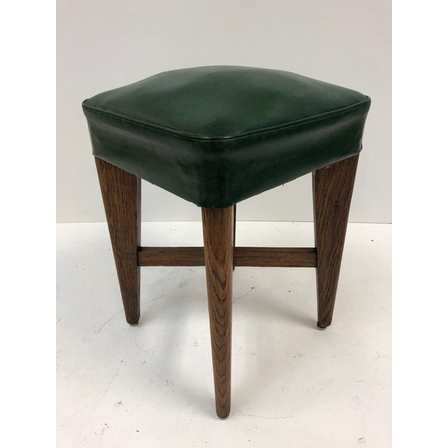1940s French oak stools. Original vinyl seats and structurally sound. Two of the stools has X base stretchers. Stools are...